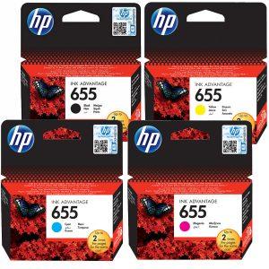 סט 4 ראשי דיו מקוריים HP 655
